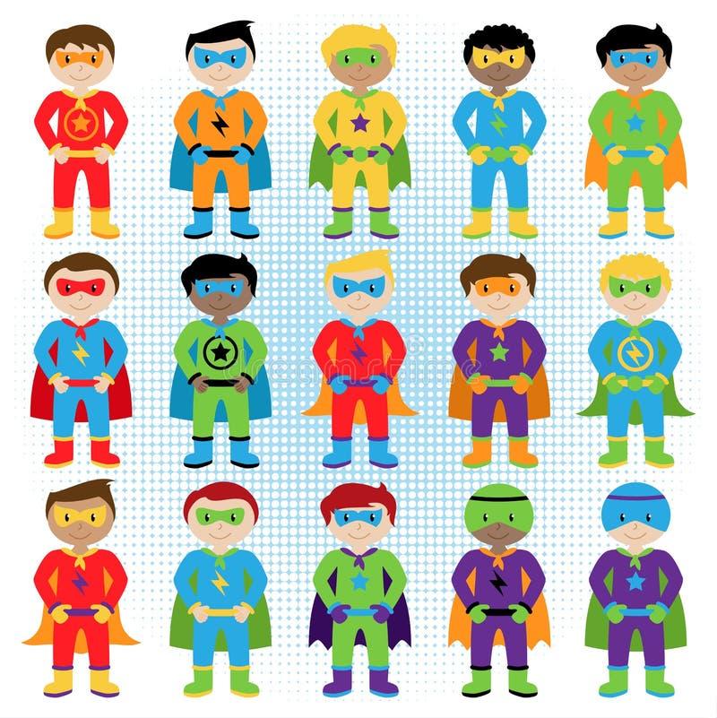 Комплект супергероев мальчика в формате вектора бесплатная иллюстрация
