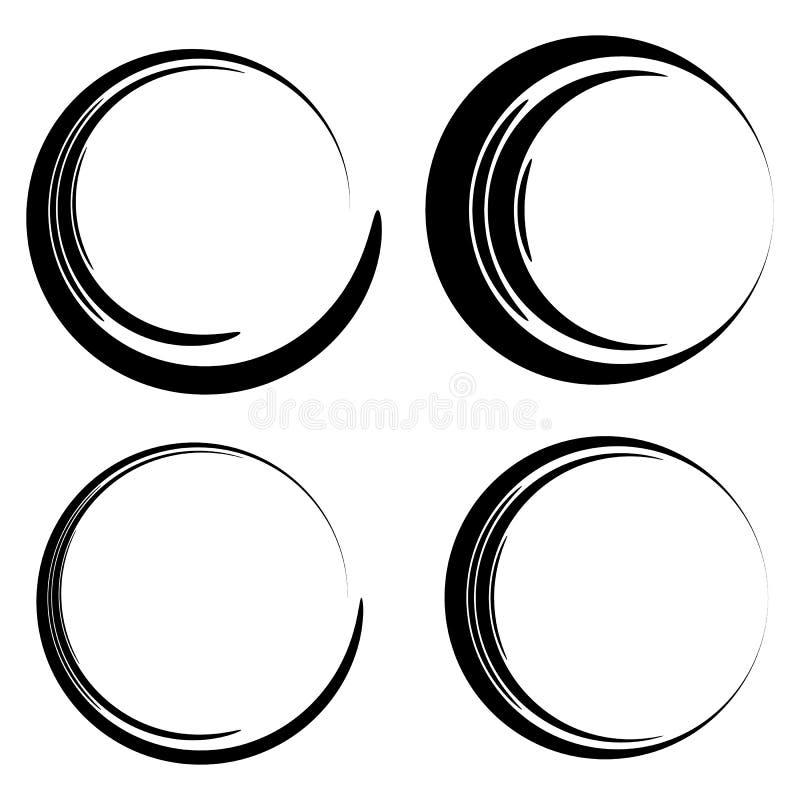 Download Комплект схематичного, круги Scribble Иллюстрация вектора - иллюстрации насчитывающей уговариваний, черный: 81814051