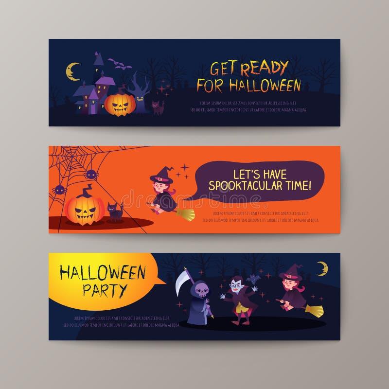 Комплект счастливого шаблона предпосылки знамен хеллоуина бесплатная иллюстрация