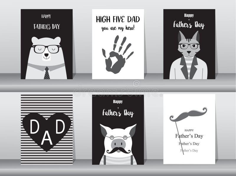 Комплект счастливой карточки дня ` s отца, плаката, шаблона, поздравительных открыток, милых, медведя, котов, свиньи, животных, и иллюстрация штока