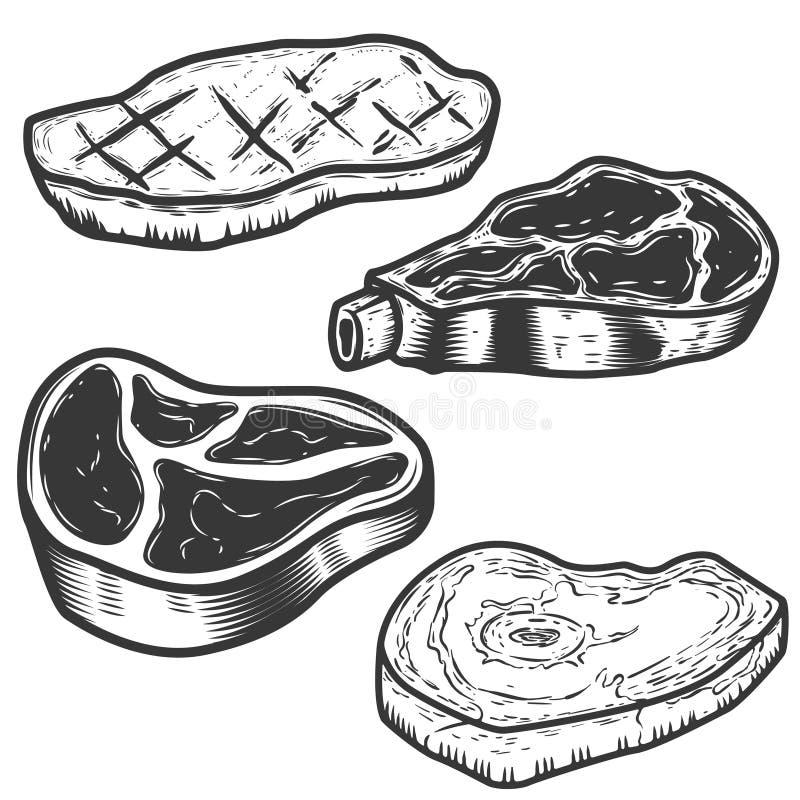 Комплект сырого мяса и зажаренных иллюстраций мяса изолированных на белизне иллюстрация вектора