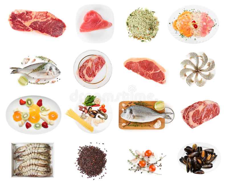 Комплект сырцовой еды на белизне стоковое изображение