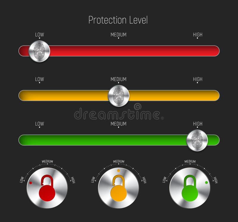 Комплект слайдеров и круглые кнопки для различных уровней защищают иллюстрация вектора