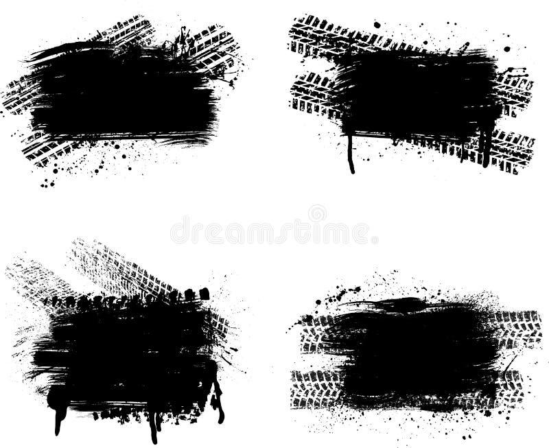 Комплект следа автошины Grunge иллюстрация вектора