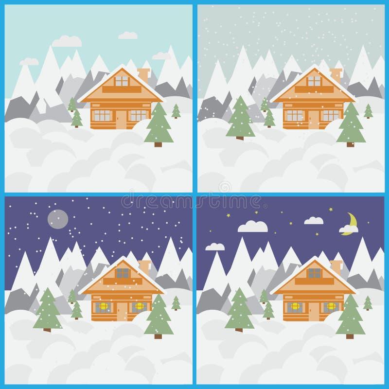 Комплект с изображениями ландшафта и шале лыжи в горах с снегом и деревья все время с снежностями стоковые фото