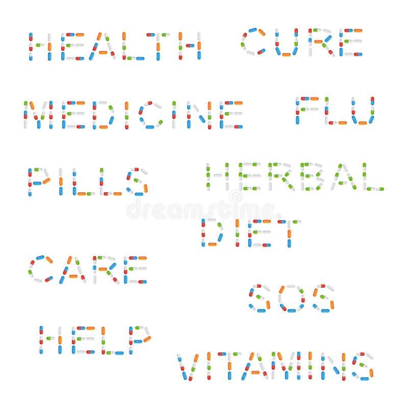 Слова медицины с пилюльками иллюстрация штока