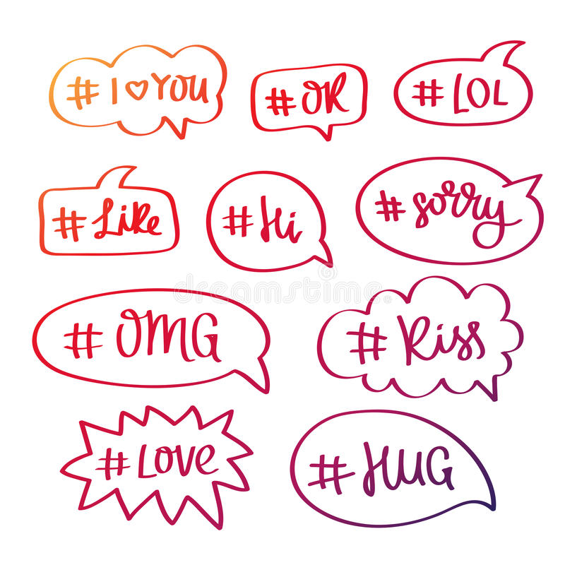 Комплект слов с hashtag в пузыре бесплатная иллюстрация