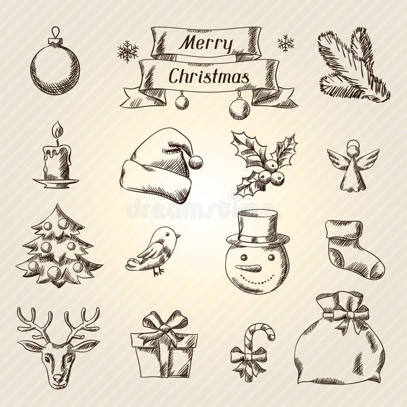 Комплект с Рождеством Христовым значков нарисованных рукой и бесплатная иллюстрация