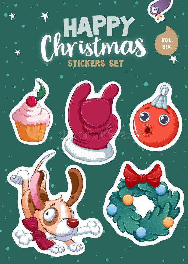 Комплект с Рождеством Христовым и счастливых стикеров или магнитов Нового Года Праздничные сувениры бесплатная иллюстрация