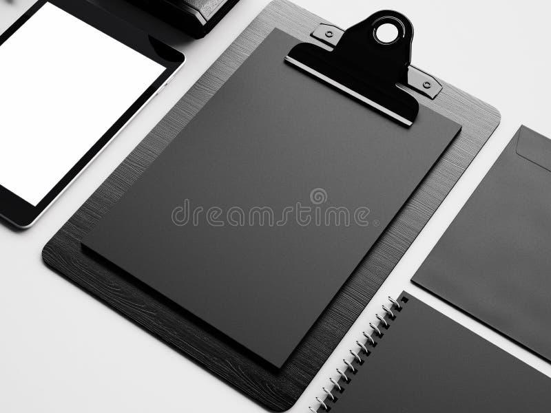 Комплект таблетки, стола и evenlope 3d представляют стоковое фото rf