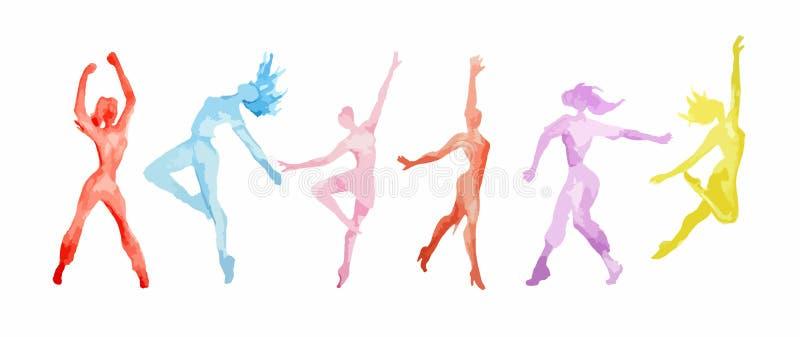 Комплект танца акварели иллюстрация вектора