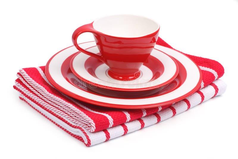 Комплект тарелок для завтрака. стоковое изображение