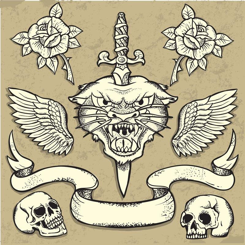 Комплект татуировки пантеры одичалый иллюстрация вектора
