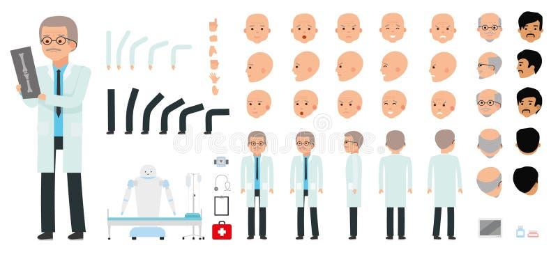 Комплект творения характера человека Педиатр, врач, сотрудник военно-медицинской службы, доктор иллюстрация вектора