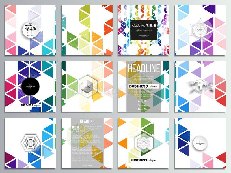 Комплект 12 творческих карточек, квадратный дизайн шаблона брошюры Абстрактная красочная предпосылка дела, современное стильное иллюстрация вектора