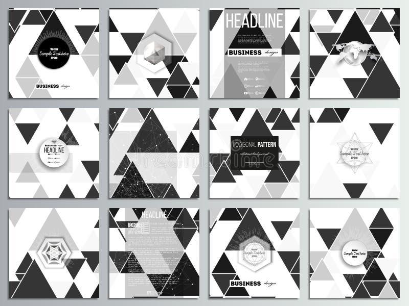 Комплект 12 творческих карточек, квадратный дизайн шаблона брошюры Триангулярная картина вектора Абстрактные черные треугольники  иллюстрация вектора