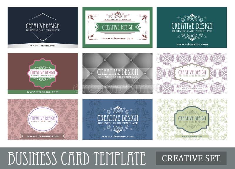 Комплект творческого винтажного абстрактного шаблона визитной карточки бесплатная иллюстрация