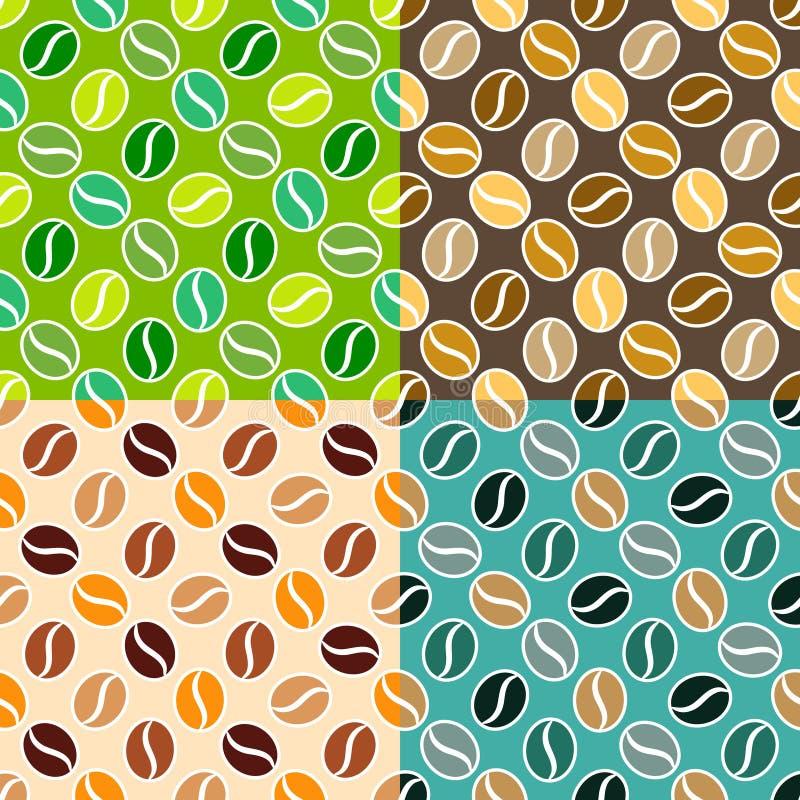 Комплект текстур кофе безшовных иллюстрация вектора