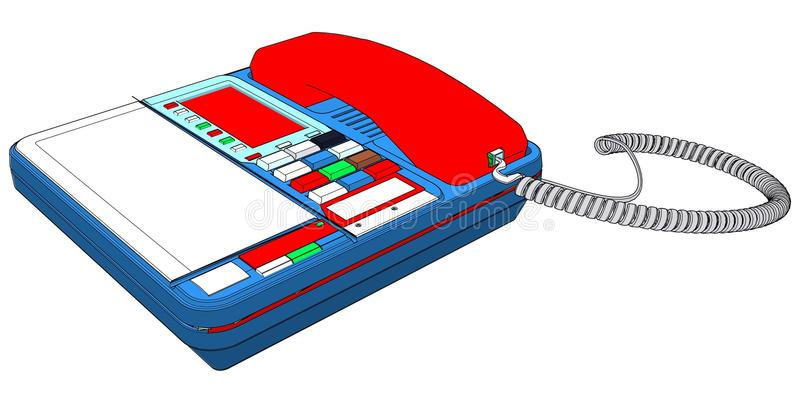 Комплект телефона IP офиса с вектором LCD иллюстрация штока