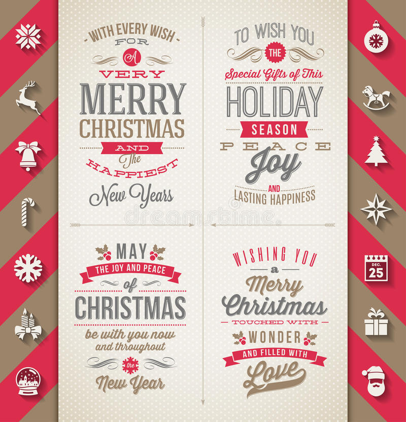 Комплект типа дизайнов рождества иллюстрация вектора