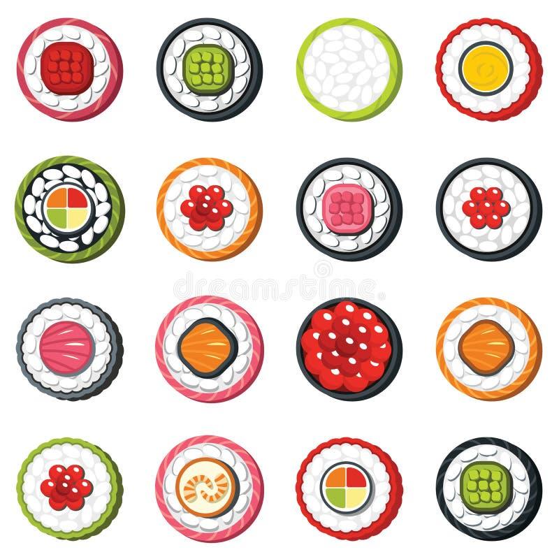 Комплект типа крена морепродуктов, японского комплекта вектора суш еды иллюстрация штока