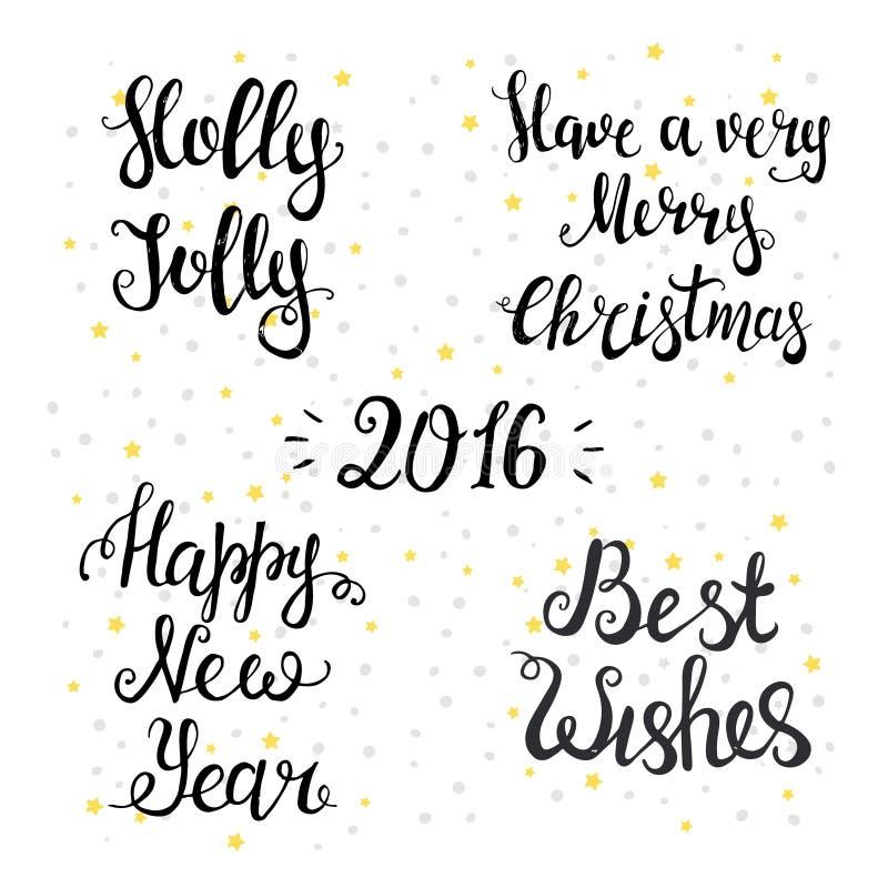 Комплект типографских предпосылок счастливое Новый Год иллюстрация штока