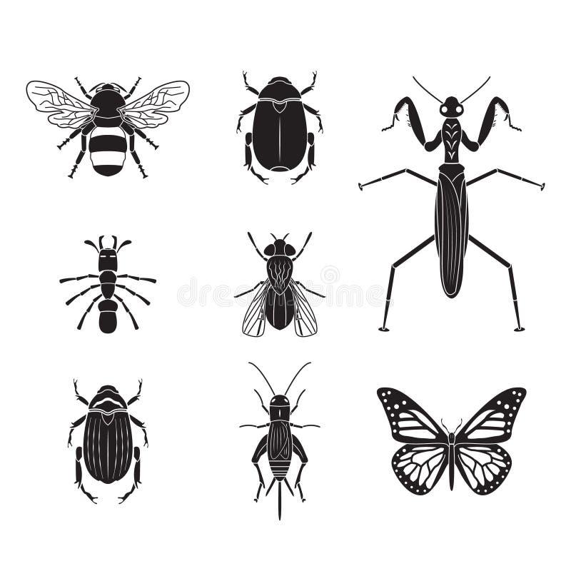 Комплект тома 4 насекомых вектора иллюстрация вектора