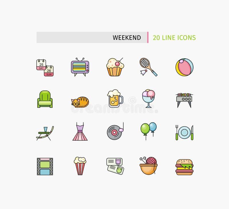 Комплект тонких линий значков пикника выходных бесплатная иллюстрация