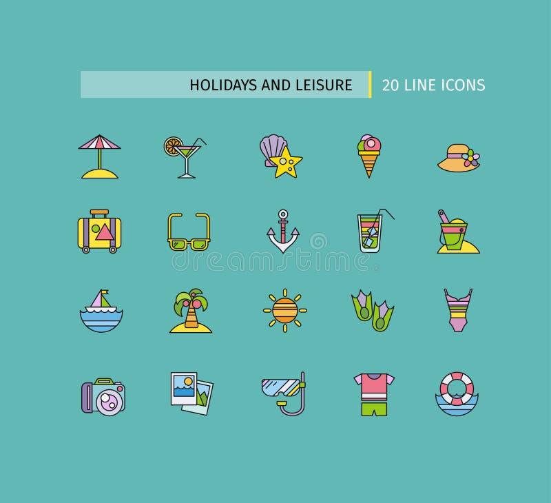 Комплект тонких линий праздников и отдыха значков бесплатная иллюстрация