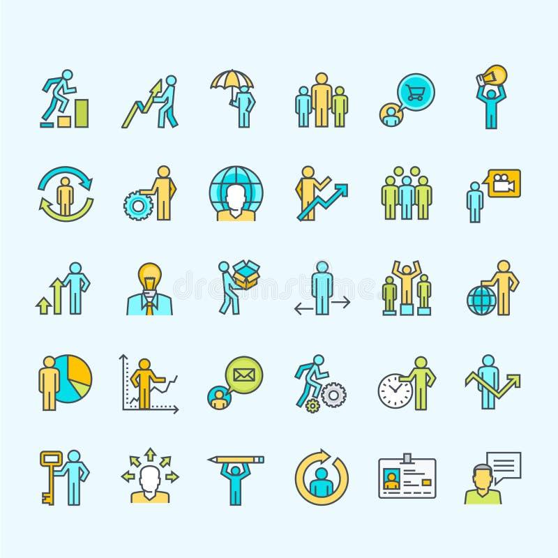 Комплект тонкой линии бизнесменов значков цвета иллюстрация вектора
