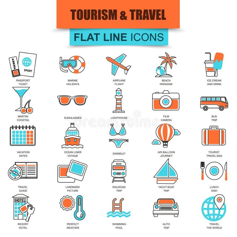 Комплект тонкой линии воссоздания туризма значков, каникул перемещения к курортному отелю иллюстрация штока