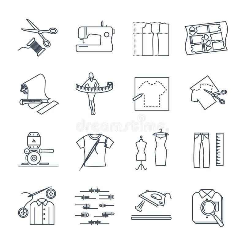 Комплект тонкой линии значков одеяния, одежды иллюстрация вектора