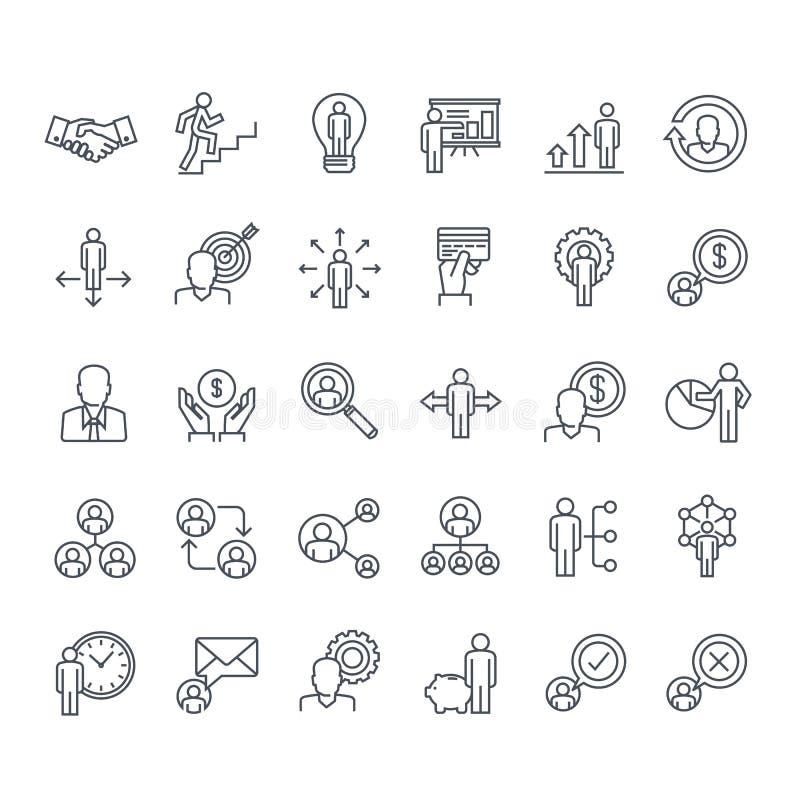 Комплект тонкой линии значков людей бесплатная иллюстрация