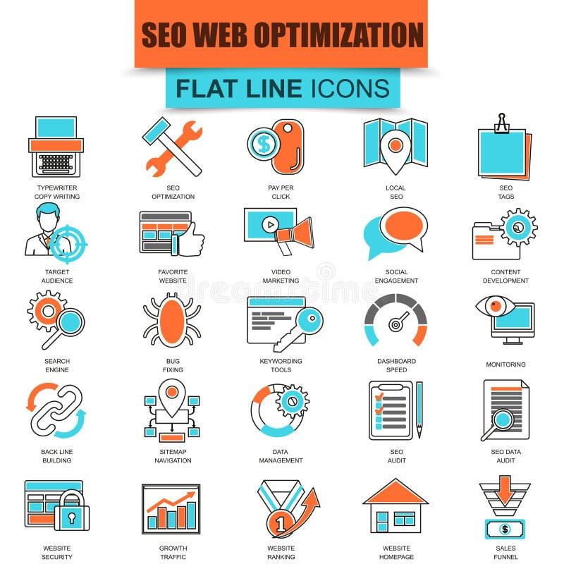 Комплект тонкой линии инструментов оптимизации поисковой системы значков бесплатная иллюстрация
