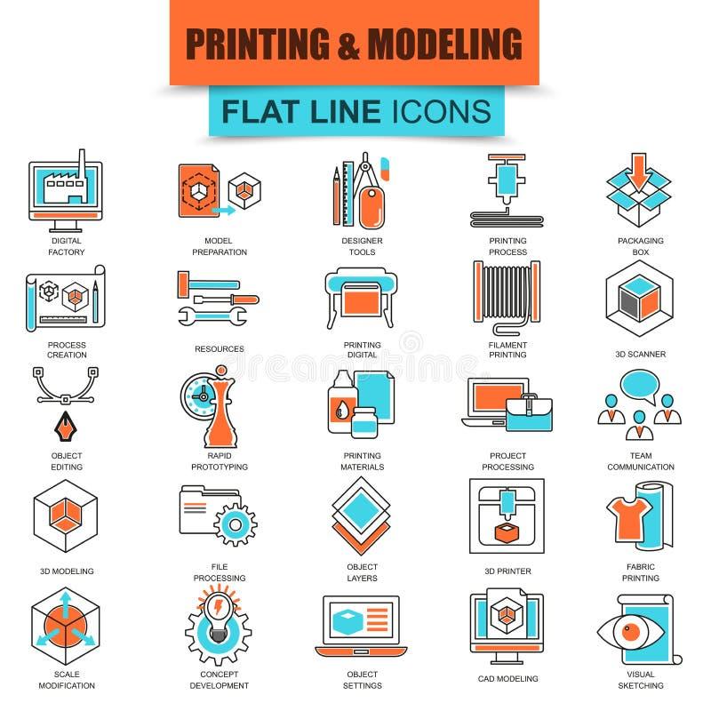 Комплект тонкой линии печатания значков 3D и технологии моделирования иллюстрация вектора