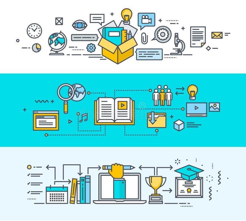Комплект тонкой линии плоских знамен идеи проекта для онлайн образования иллюстрация штока