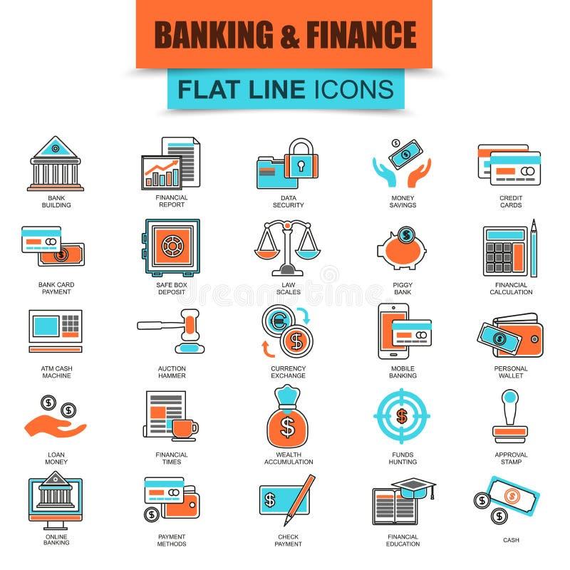 Комплект тонкой линии экономики, банка и финансовых обслуживаний значков иллюстрация штока