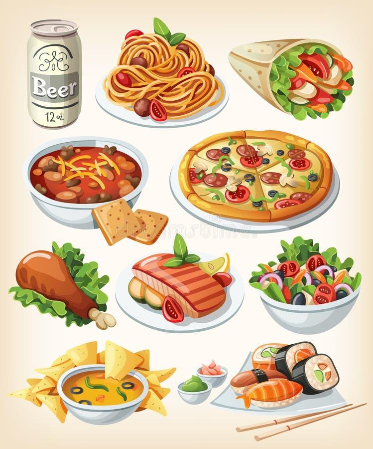 Комплект традиционной еды иллюстрация вектора