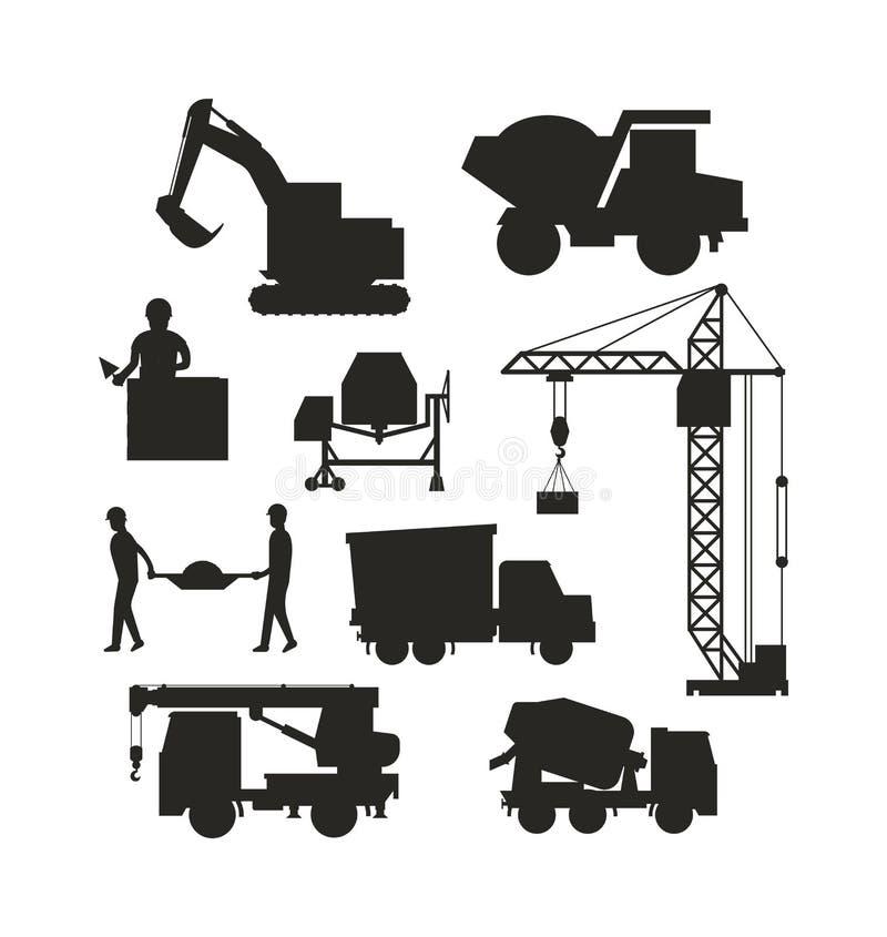 Комплект тяжелого вектора перехода здания значка машин силуэта строительного оборудования иллюстрация вектора
