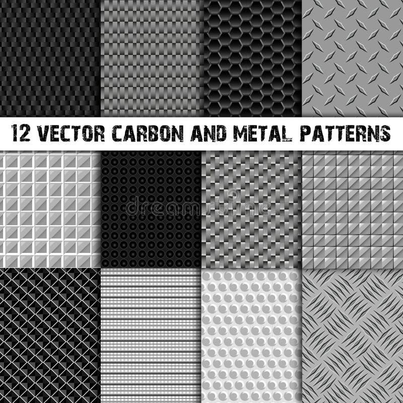 Комплект 12 углерод и картины металла безшовной бесплатная иллюстрация