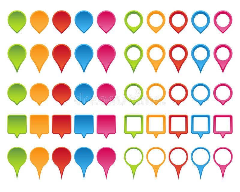 Комплект указателя карты иллюстрация вектора