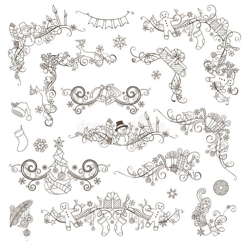 Комплект украшений и рассекателей страницы рождества винтажных бесплатная иллюстрация