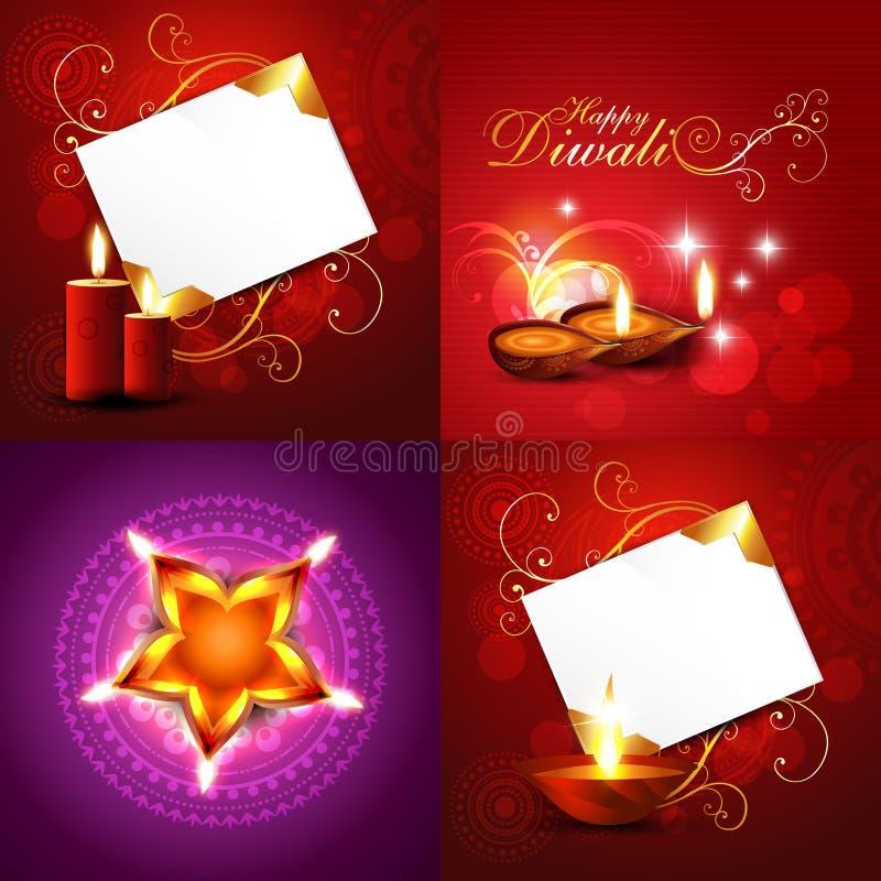 Комплект украшенной предпосылки праздника diwali бесплатная иллюстрация