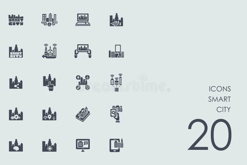 Комплект умных значков города иллюстрация вектора