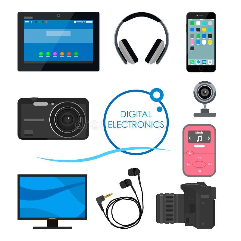 Комплект устройств и электронных устройств потребителя Иллюстрация вектора в плоском стиле Конструируйте детали, значки, телефон, бесплатная иллюстрация