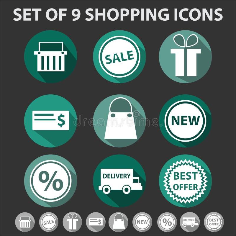 Download Комплект 9 ультрамодных значков покупок Иллюстрация вектора - иллюстрации насчитывающей тень, корзины: 33728141