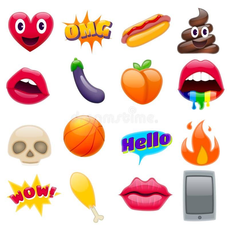 Комплект фантастического комплекта дизайна Emoji смайликов Smiley иллюстрация штока
