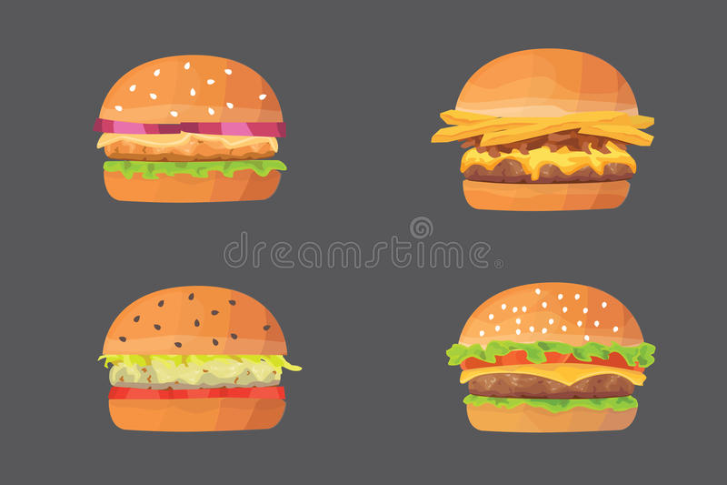 Комплект фаст-фуда шаржа бургера иллюстрация вектора cheeseburger и гамбургера бесплатная иллюстрация