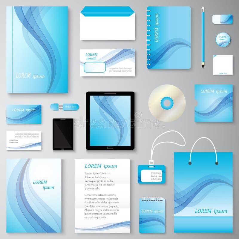 Комплект фирменного стиля волны вектора творческий клеймить канцелярских принадлежностей бесплатная иллюстрация