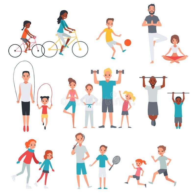 Комплект фитнеса людей плоский иллюстрация вектора
